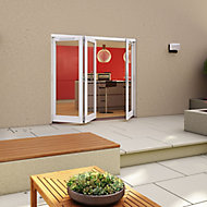 Glazed Pre-painted White Timber RH External Folding Patio Door set, (H)2094mm (W)2394mm