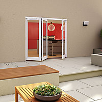 Glazed Pre-painted White Timber LH External Folding Patio Door set, (H)2094mm (W)2394mm