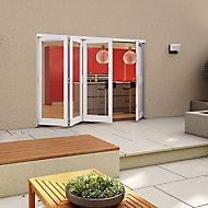 Glazed Pre-painted White Timber RH External Folding Patio Door set, (H)2094mm (W)2994mm