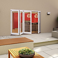 Glazed Pre-painted White Timber LH External Folding Patio Door set, (H)2094mm (W)2994mm