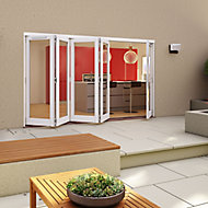 Glazed Pre-painted White Timber LH External Folding Patio Door set, (H)2094mm (W)3594mm