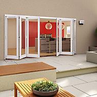 Glazed Pre-painted White Timber LH & RH External Folding Patio Door set, (H)2094mm (W)4194mm