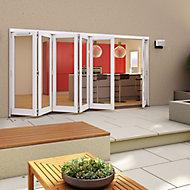 Glazed Pre-painted White Timber RH External Folding Patio Door set, (H)2094mm (W)4794mm