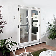 1 Lite Glazed White Hardwood External French Door set, (H)2094mm (W)1194mm
