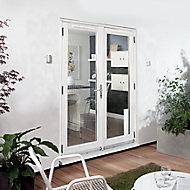 1 Lite Glazed White Hardwood External French Door set, (H)2094mm (W)1494mm