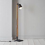 Colours Liber Black Wood effect Incandescent Floor lamp