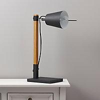 Colours Liber Matt Black Iron & wood effect Incandescent Table lamp