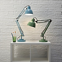 Colours ISAAC Matt Blue CFL Desk lamp