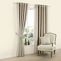 Carina Ecru & seine Plain Lined Eyelet Curtains (W)228cm (L)228cm, Pair