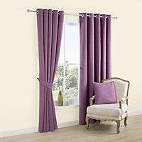 Carina Blueberry & purple Plain Lined Eyelet Curtains (W)167cm (L)228cm, Pair