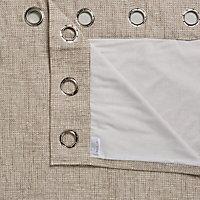 Carina Ecru Plain Lined Eyelet Curtains (W)167cm (L)228cm, Pair