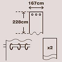 Zen Seine Plain Unlined Eyelet Curtains (W)167cm (L)228cm, Pair
