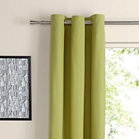 Zen Lime Plain Unlined Eyelet Curtains (W)228cm (L)228cm, Pair