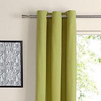 Zen Lime Plain Unlined Eyelet Curtains (W)228cm (L)228cm, Pair