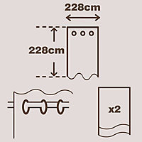 Suedine Chocolate Plain Unlined Eyelet Curtains (W)228cm (L)228cm, Pair