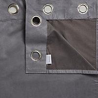 Suedine Concrete Plain Unlined Eyelet Curtains (W)228cm (L)228cm, Pair