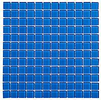 Blue Glass Mosaic tile, (L)300mm (W)300mm