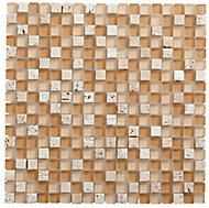 Natural Glass & marble Mosaic tile, (L)300mm (W)300mm