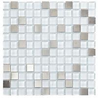 Grey Glass & metal Mosaic tile, (L)300mm (W)300mm