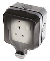 Diall 13A Grey Single External Switched Socket