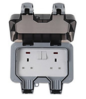 Diall 13A Grey Double External Switched Socket