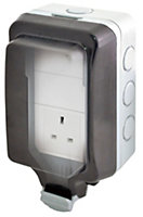 Diall 13A Grey 1 gang Unswitched socket