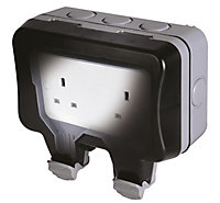 Diall 13A Grey Double External Unswitched Socket