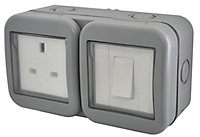 Diall 13A Grey Double External Switched Socket & 2 way single switch