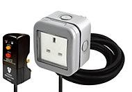 Diall Grey 13A Outdoor socket & RCD plug