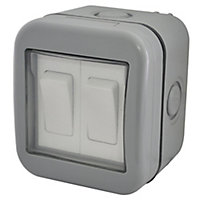Diall 10A 2 way Grey Nickel effect Double outdoor Switch