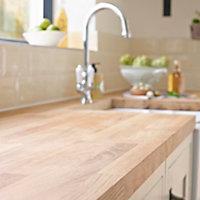 27mm Solid oak Square edge Kitchen Worktop, (L)3000mm