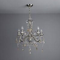 Chesworth Polished Nickel effect 5 Lamp Chandelier Ceiling light