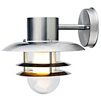 Blooma Minos Chrome effect Mains-powered Outdoor Fisherman Wall light
