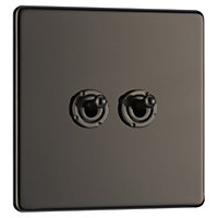 Colours 10A 2 way Polished black nickel effect Double Toggle Switch