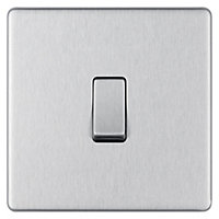 Colours 10A 2 way Brushed stainless steel effect Single Light Switch