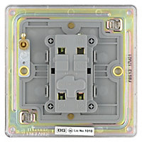 Colours 10A Brushed silver effect Single Light Switch