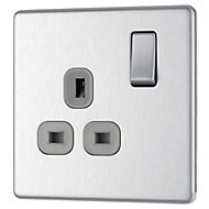 Colours 13A Stainless steel effect Single Switched Socket