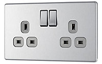Colours 13A Stainless steel effect Double Switched Socket