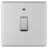 Colours 20A Brushed stainless steel effect Switch