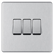 Colours 10A 2 way Brushed stainless steel effect Triple Light Switch
