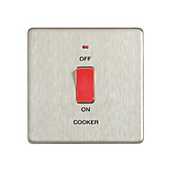 Colours 45A Brushed Cooker Switch