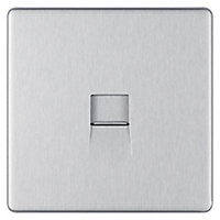 Colours 1 gang Stainless steel effect Telephone socket