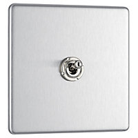 Colours 10A 2 way Stainless steel effect Single Toggle Switch