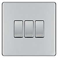 Colours 10A 2 way Polished chrome effect Triple Light Switch