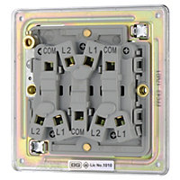 Colours 10A 2 way Polished chrome effect Triple Light Switch