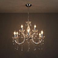 Annelise Silver effect 9 Lamp Chandelier Ceiling light