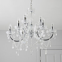 Annelise Silver effect 9 Lamp Chandelier Ceiling light