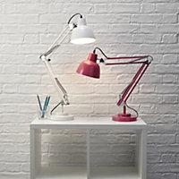 Colours ISAAC Matt White CFL Desk lamp