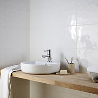 Hampton Ripple White Gloss Ceramic Wall tile, Pack of 10, (L)250mm (W)400mm