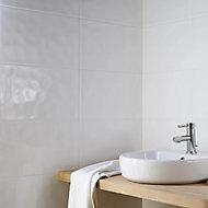 Hampton Ripple White Gloss Ceramic Wall & floor tile, Pack of 10, (L)250mm (W)400mm